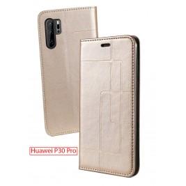 Etui Huawei P30 Pro et Pochette Multicarte avec fermeture Magnétique Doré