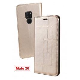 Etui Huawei Mate 20 et Pochette Multicarte avec fermeture Magnétique Doré