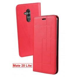 Etui Huawei Mate 20 Lite et Pochette Multicarte avec fermeture Magnétique Rouge