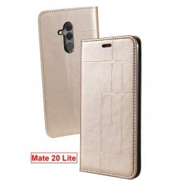 Etui Huawei Mate 20 Lite et Pochette Multicarte avec fermeture Magnétique Doré