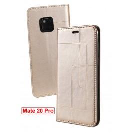 Etui Huawei Mate 20 Pro et Pochette Multicarte avec fermeture Magnétique Doré