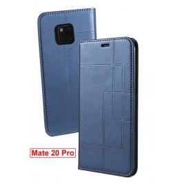 Etui Huawei Mate 20 Pro et Pochette Multicarte avec fermeture Magnétique Bleu