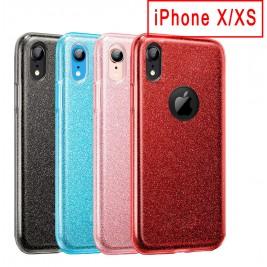 Coque Paillette iPhone X/XS en Silicone avec Strass brillant