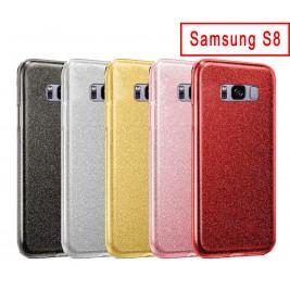 Coque Samsung Galaxy S8 Paillette en Silicone avec Strass brillant