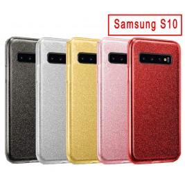 Coque Samsung Galaxy S10 Paillette en Silicone avec Strass brillant