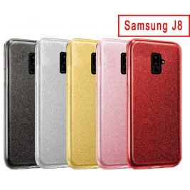 Coque Samsung  J8 Paillette en Silicone avec Strass brillant