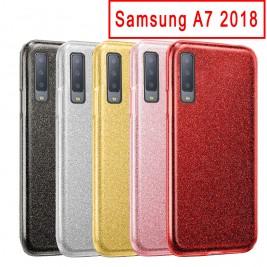 Coque Samsung Galaxy A7 2018 Paillette en Silicone avec Strass brillant