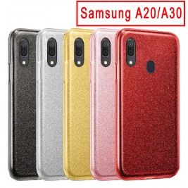 Coque Samsung Galaxy A20/A30 Paillette en Silicone avec Strass brillant