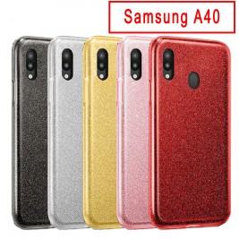 Coque Samsung Galaxy A40 Paillette en Silicone avec Strass brillant