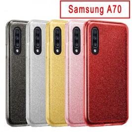Coque Samsung Galaxy A70 Paillette en Silicone avec Strass brillant