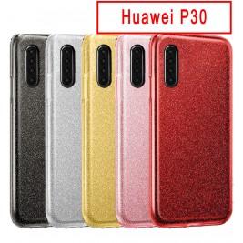 Coque Huawei P30 Paillette en Silicone avec Strass brillant