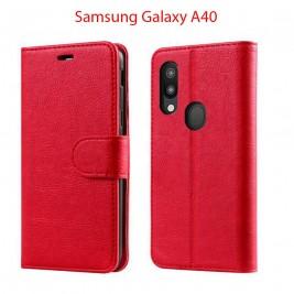Etui à Clapet A40 et Pochette Portecarte Samsung Galaxy A40 Rouge