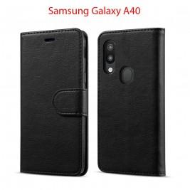 Etui à Clapet A40 et Pochette Portecarte Samsung Galaxy A40 Bleu
