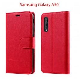 Etui à Clapet A50 et Pochette Portecarte Samsung Galaxy A50 Rouge