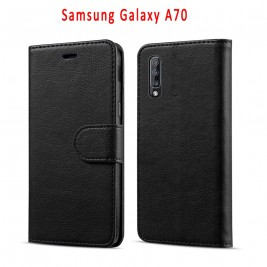 Etui à Clapet A70 et Pochette Portecarte Samsung Galaxy A70 Noir