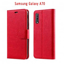 Etui à Clapet A70 et Pochette Portecarte Samsung Galaxy A70 Rouge