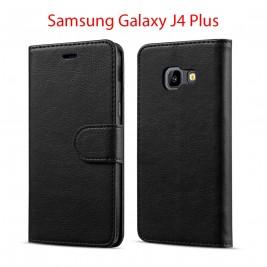 Etui à Clapet J4 Plus et Pochette Portecarte Samsung Galaxy J4 Plus Noir
