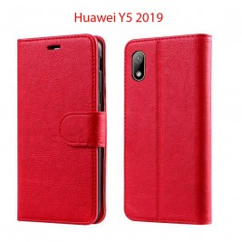 Etui à Clapet Huawei Y5 2019 et Pochette Portecarte Huawei Y5 2019 Rouge