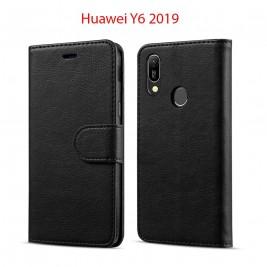 Etui à Clapet Huawei Y6 2019 et Pochette Portecarte Huawei Y6 2019 Noir