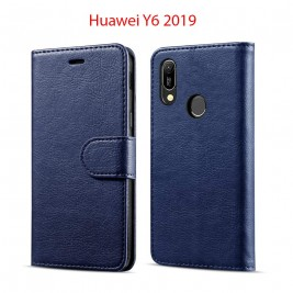Etui à Clapet Huawei Y6 2019 et Pochette Portecarte Huawei Y6 2019 Bleu