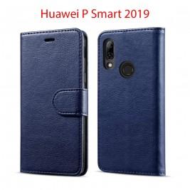 Etui à Clapet P Smart 2019 et Pochette Portecarte Huawei P Smart 2019 Bleu