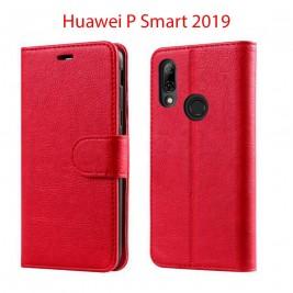 Etui à Clapet P Smart 2019 et Pochette Portecarte Huawei P Smart 2019 Rouge