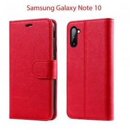 Etui à Clapet Note 10 et Pochette Portecarte Samsung Galaxy Note 10 Rouge