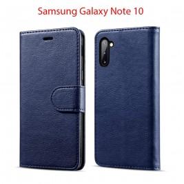 Etui à Clapet Note 10 et Pochette Portecarte Samsung Galaxy Note 10 Bleu