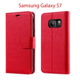Etui à Clapet S7 et Pochette Portecarte Samsung Galaxy S7 Rouge