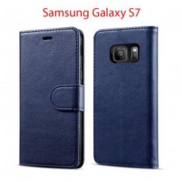 Etui à Clapet S7 et Pochette Portecarte Samsung Galaxy S7 Bleu