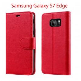 Etui à Clapet S7 edge et Pochette Portecarte Samsung Galaxy S7 Edge Rouge