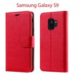 Etui à Clapet S9 et Pochette Portecarte Samsung Galaxy S9 Rouge
