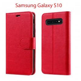 Etui à Clapet S10 et Pochette Portecarte Samsung Galaxy S10 Rouge