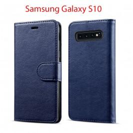 Etui à Clapet S10 et Pochette Portecarte Samsung Galaxy S10 Bleu