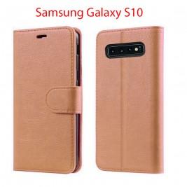 Etui à Clapet S10 et Pochette Portecarte Samsung Galaxy S10 Rose