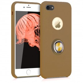 Coque iPhone 6G/6S en Silicone Marron Clair avec Bague