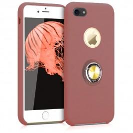 Coque iPhone 7G/7S en Silicone Rose Foncé avec Bague