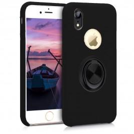 Coque iPhone XR en Silicone Noir avec Bague