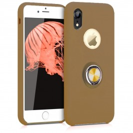 Coque iPhone XR en Silicone Marron Clair avec Bague