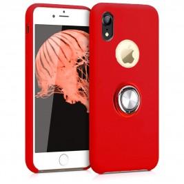 Coque iPhone XR en Silicone Rouge avec Bague