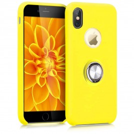 Coque iPhone X/XS en Silicone Jaune avec Bague