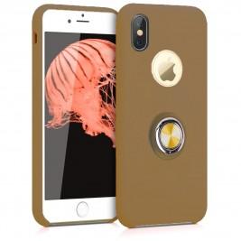 Coque iPhone X/XS en Silicone Marron Clair avec Bague