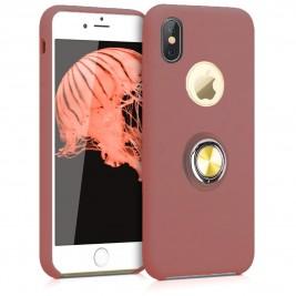 Coque iPhone X/XS en Silicone Rose Foncé avec Bague