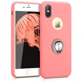 Coque iPhone X/XS en Silicone Rose avec Bague