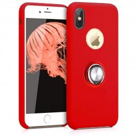 Coque iPhone X/XS en Silicone Rouge avec Bague