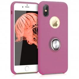Coque iPhone X/XS en Silicone Violet avec Bague