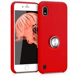 Coque Samsung Galaxy A10 en Silicone Rouge avec Bague