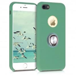 Coque iPhone 6 Plus en Silicone Bleu Clair avec Bague