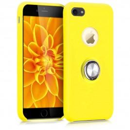 Coque iPhone 6 Plus en Silicone Jaune avec Bague
