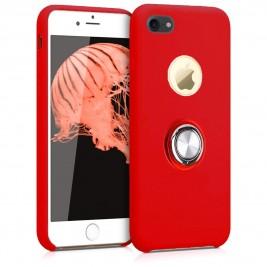 Coque iPhone 6 Plus en Silicone Rouge avec Bague